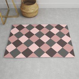 Brown pink plaid Rug