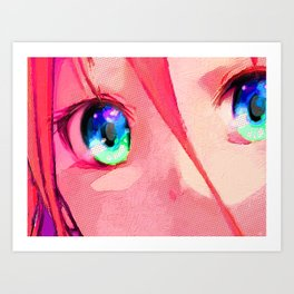 Anime Girl Eyes Red Art Print
