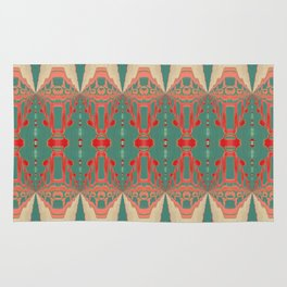 Beautiful Bohemian Turquoise Coral White Gold Pattern Rug
