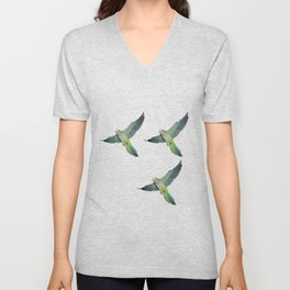 Flying parakeets Unisex V-Neck