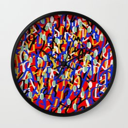Abstract laberinto red blue Wall Clock
