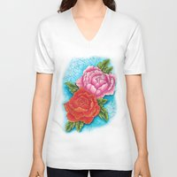 peonies V-neck T-shirts featuring peonies by missfortunetattoo