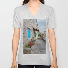 Town of Hum old cobbled street view Unisex V-Neck