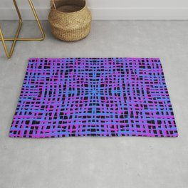 Square violet curved stripes with imitation of the bark of a light blue tree trunk. Rug