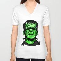 frankenstein V-neck T-shirts featuring Frankenstein  by Bleachydrew