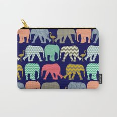 baby elephants and flamingos navy Carry-All Pouch