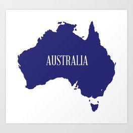 Australia Map Silhouette Art Print