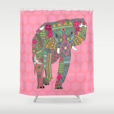 painted elephant pink spot Shower Curtain