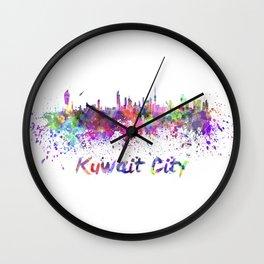 Kuwait City skiline in watercolor Wall Clock