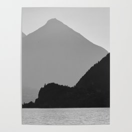 Brienz Lake At Sunset. Alps. Switzerland. Bw Poster