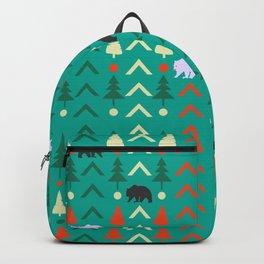 Winter bear pattern in green Backpack