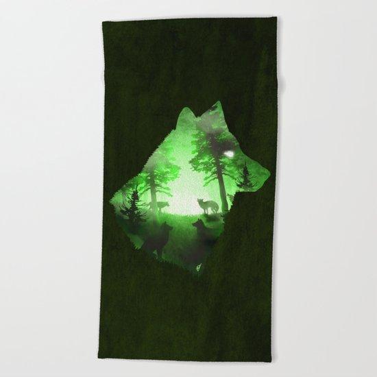 Green Wolf Beach Towel