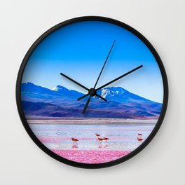 Pink Flamingos at Laguna Colorada in Bolivia Wall Clock