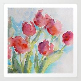 Tulips (watercolor) Art Print