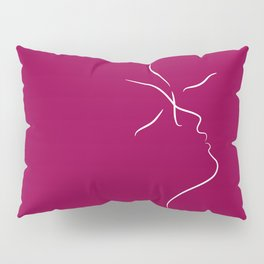 Minimalist kiss drawing in dark red tones. Modern design. Pillow Sham