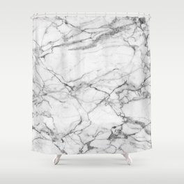 White Marble Stone Shower Curtain