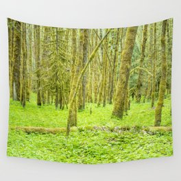 Vibrant Mossy Green Forest Wall Tapestry