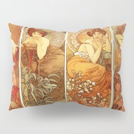 "Alphonse Mucha ""The Gem Series - Ruby, Amethyst, Emerald, Topaz"" Pillow Sham"