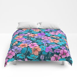 Modern abstract teal coral pink navy blue floral Comforters