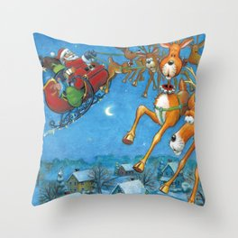 Santa circling over the little town of Bishop Hollow Throw Pillow