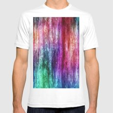 Melting Rainbow Watercolor Abstract White Mens Fitted Tee MEDIUM