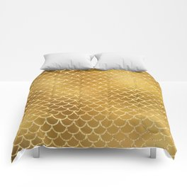 Elegant, Bling Gold Mermaid Scale Pattern Comforters
