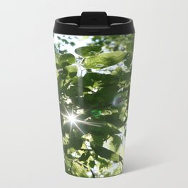 sunflare through the leaves Metal Travel Mug