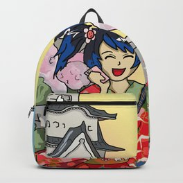 Cellphone geisha at a Japanese castle Backpack