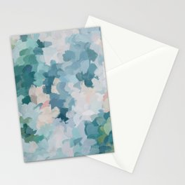 Mint Green Sky Blue Teal Blush Pink Abstract Nature Flower Wall Art, Spring Blossom Painting Stationery Cards