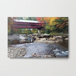 Covered Bridge over the Saco River, Conway, New Hampshire Metal Print