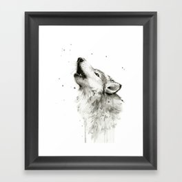 Wolf Howling Watercolor Animals Painting Black and White Framed Art Print