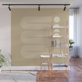 Geometric Lines in Beige 11 (Modern Mid century abstraction) Wall Mural
