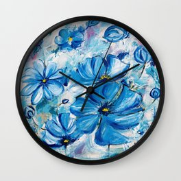 Abstract Blue Poppies Wall Clock