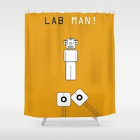 lab Shower Curtains featuring Lab Man by Artricca