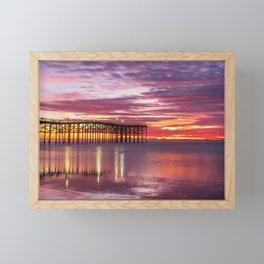 Moody November Beach Sunset (purple, red) Framed Mini Art Print