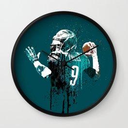 AMERICAN FOOTBALL PLAYER #on GREEN #eagles #NICK FOLES Wall Clock