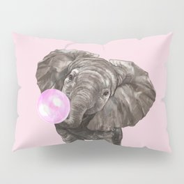 Baby Elephant Blowing Bubble Gum Pillow Sham