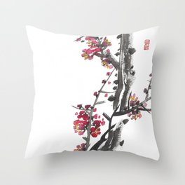 Plum Blossom Two Throw Pillow