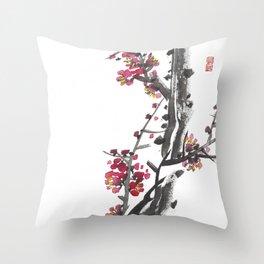 Plum Blossom Two Throw Pillow
