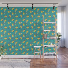 To the Window to the Narwhal - Lemon & Blue Wall Mural