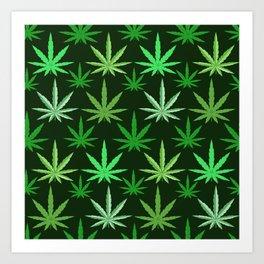 Marijuana Green Leaves Weed Art Print