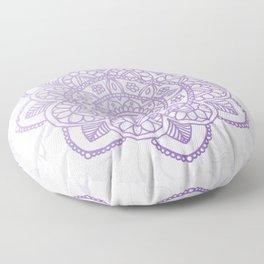 Lavender Mandala on White Marble Floor Pillow