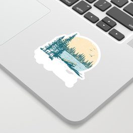 Vintage Retro Up North Lake Sticker