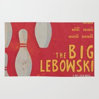 big lebowski Area & Throw Rugs featuring The Big Lebowski - Movie Poster by Stefanoreves