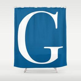 Serif G. White on Blue. Shower Curtain