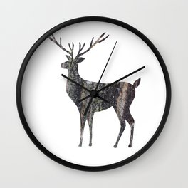 deer silhouette stag black bark with lichen Wall Clock