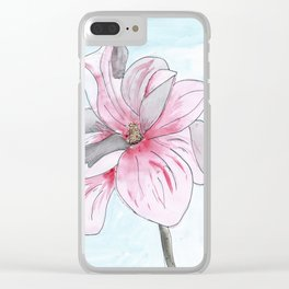 Magnolia Flower watercolor Clear iPhone Case