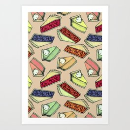 Easy As Pie - cute hand drawn illustrations of pie on neutral tan Art Print