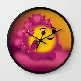 Flower power emoji Wall Clock