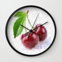 Big Red Cherries Wall Clock
